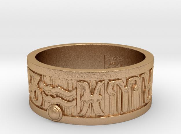Zodiac Sign Ring Aquarius / 22.5mm in Natural Bronze
