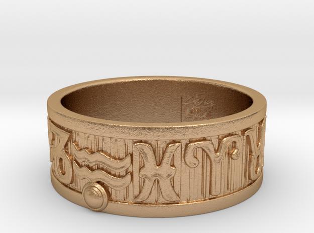 Zodiac Sign Ring Aquarius / 23mm in Natural Bronze
