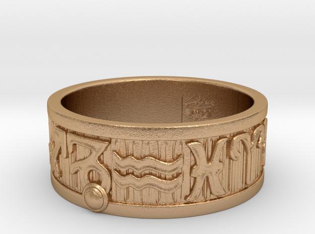 Zodiac Sign Ring Capricorn / 23mm in Natural Bronze