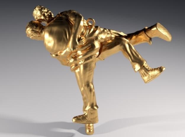Swiss wrestling - 30mm high in Natural Bronze