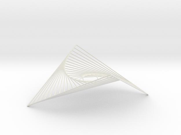 Square Spiral Line Illusion V1 Tessellated Lines in White Natural Versatile Plastic