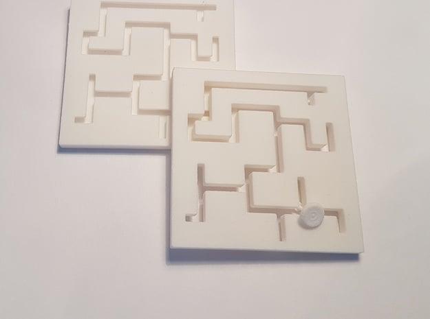 Plate Maze Puzzle in White Natural Versatile Plastic