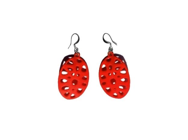 Exteriority Earrings in Red Processed Versatile Plastic