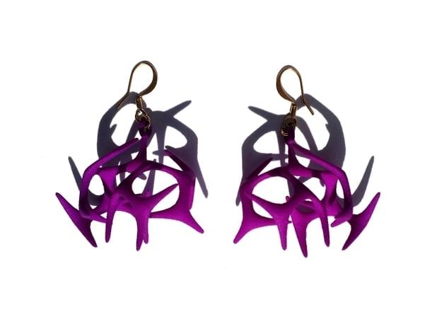 Branching Earrings in Purple Processed Versatile Plastic