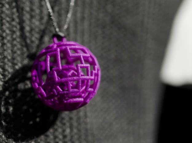Caged sphere pendant in Purple Processed Versatile Plastic