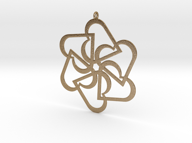 Six Hearts pendant in Polished Gold Steel