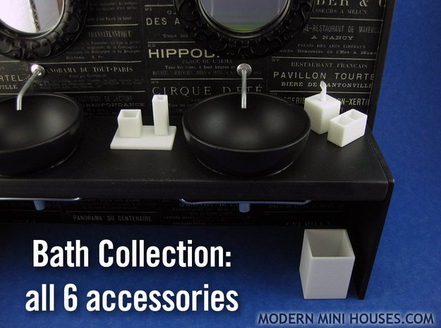 Bath Collection 1:12 scale 6 piece bathroom set in White Processed Versatile Plastic