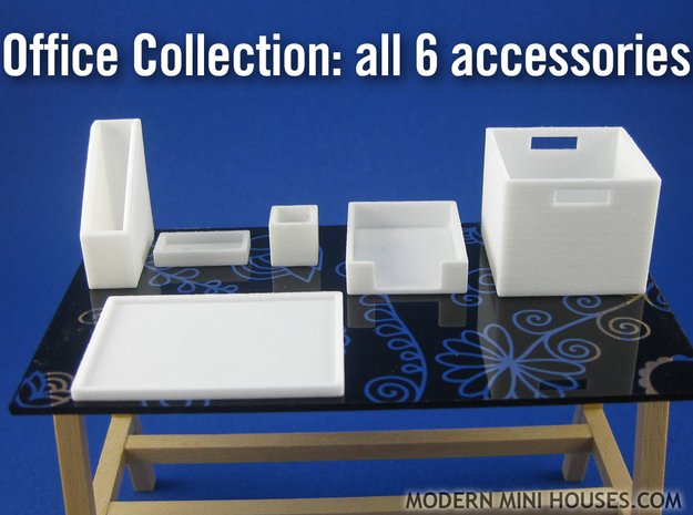 Office Collection 6-piece 1:12 scale accessories in White Processed Versatile Plastic