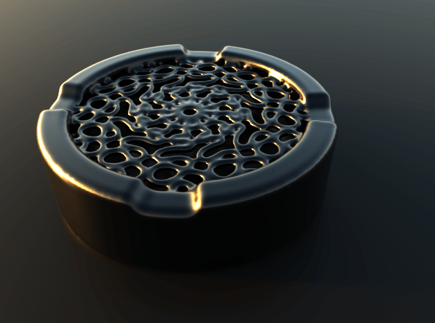 Ashtray with build in Grill in Matte Black Steel