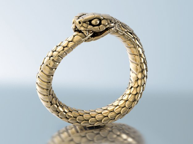Ouroboros Snake Ring in 18k Gold Plated Brass: 7 / 54