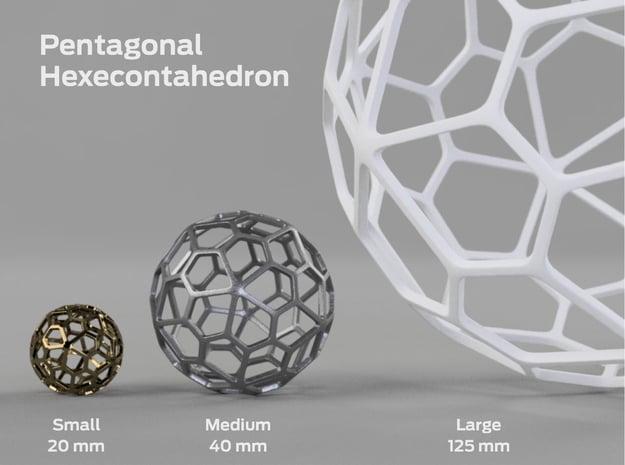 Pentagonal Hexecontahedron in White Processed Versatile Plastic: Large