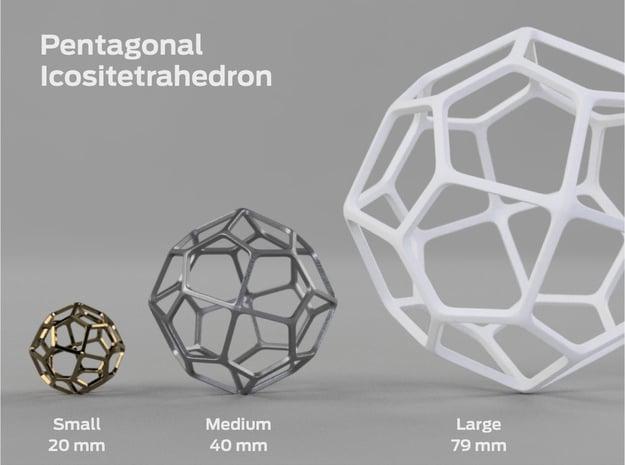 Pentagonal Icositetrahedron in White Processed Versatile Plastic: Large