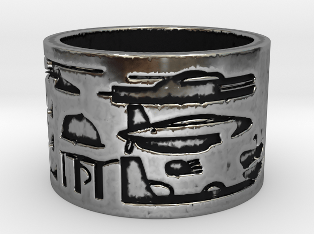 Helicopter & UFOs at Abydos #1 Ring Size 9 in Antique Silver