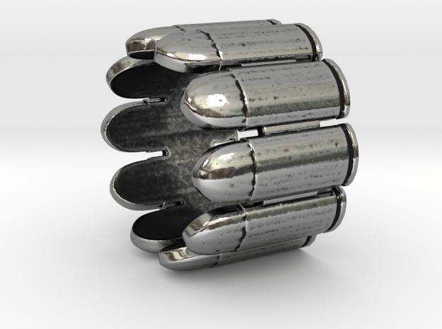Pistol Bullets, 10, Thick, Ring Size 14 in Antique Silver