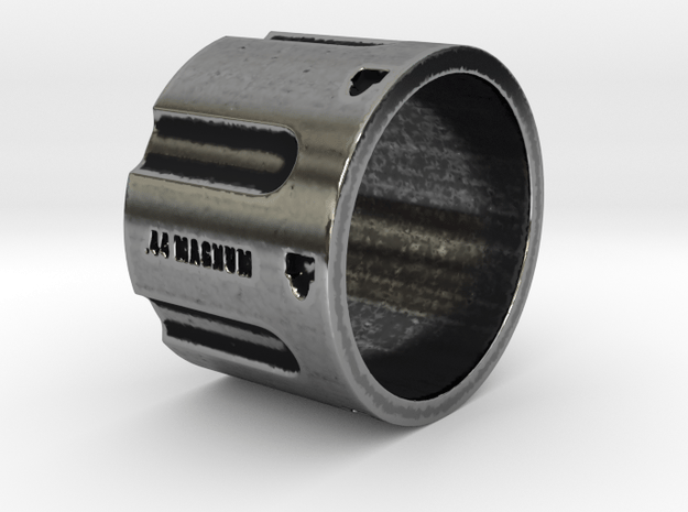 44 Magnum Cylinder, 16mm Tall,  Ring Size 10 in Antique Silver