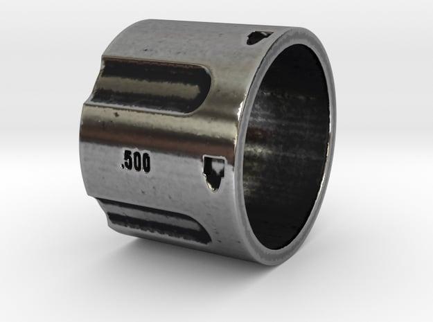 500 5-Shot Revolver Cylinder, Ring Size 12 in Antique Silver