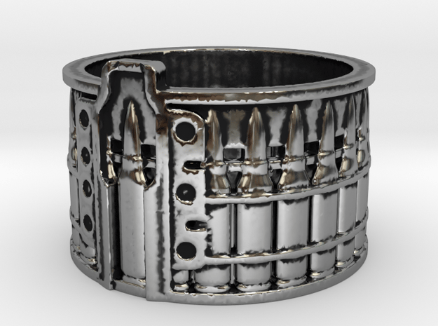 AK-47 Ak47 75 Round Drum, Ring Size 12 in Antique Silver