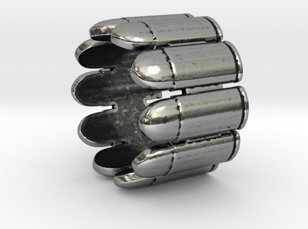 Pistol Bullets, 10, Thick, Ring Size 8 in Antique Silver
