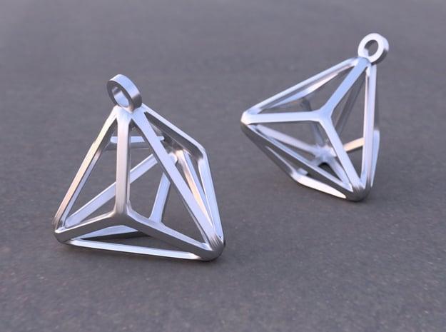 Triakis Tetrahedron Earrings in Rhodium Plated Brass