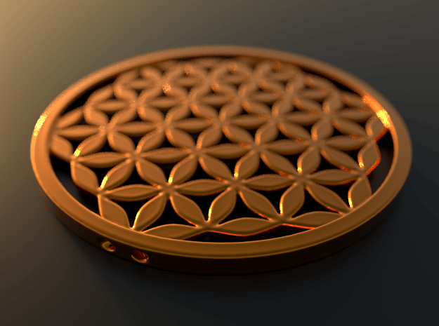 Flower of Life pendant in a wide variety of materi in Polished Gold Steel