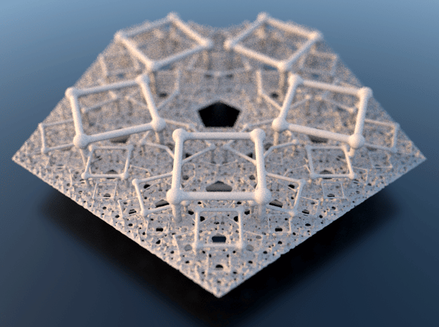 Polyfold Cubetube Fractal in White Natural Versatile Plastic