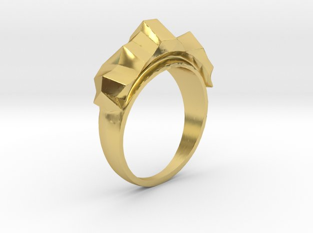 Mountain Ring in Polished Brass: 10 / 61.5