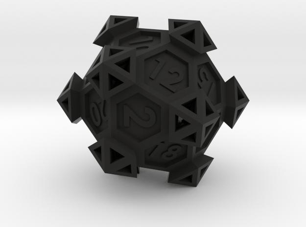 Ancient Construct D20 in Black Natural Versatile Plastic