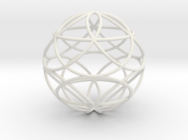 3D 50mm Orb of Life (3D Seed of Life) in White Natural Versatile Plastic