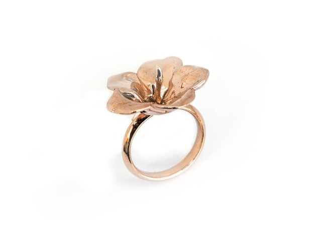 Hawaiian Hibiscus Ring in 14k Rose Gold Plated Brass: 4.5 / 47.75