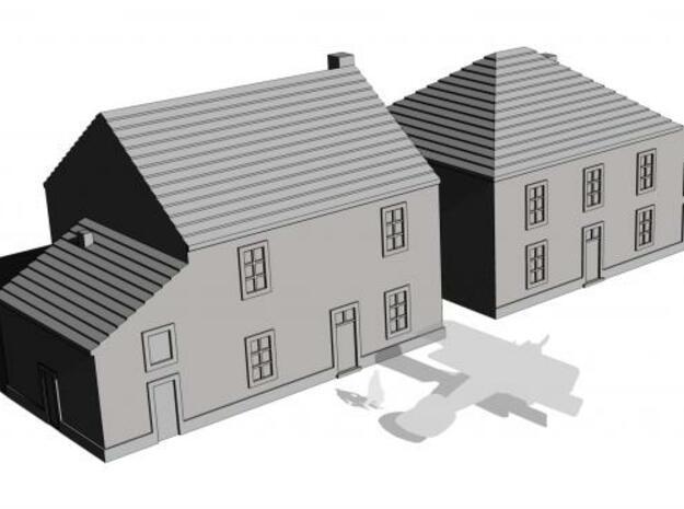 1/350 Village Houses 6 in White Natural Versatile Plastic
