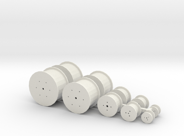 HO Scale Cable Reels Assorted in White Natural Versatile Plastic