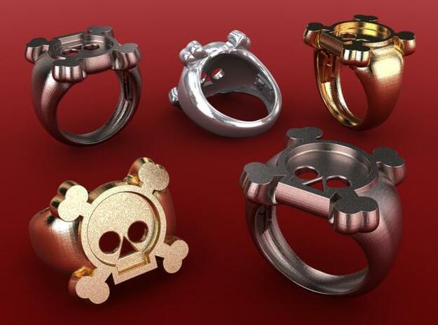 Skull II Ring in Polished Bronzed Silver Steel