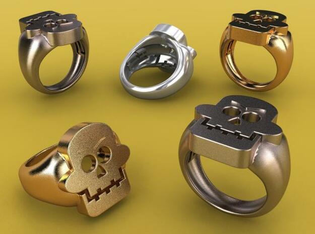 Skull III Ring in Polished Bronzed Silver Steel