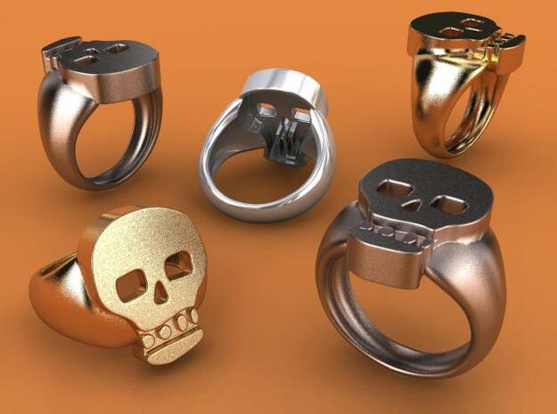 Skull V Ring in Polished Bronzed Silver Steel