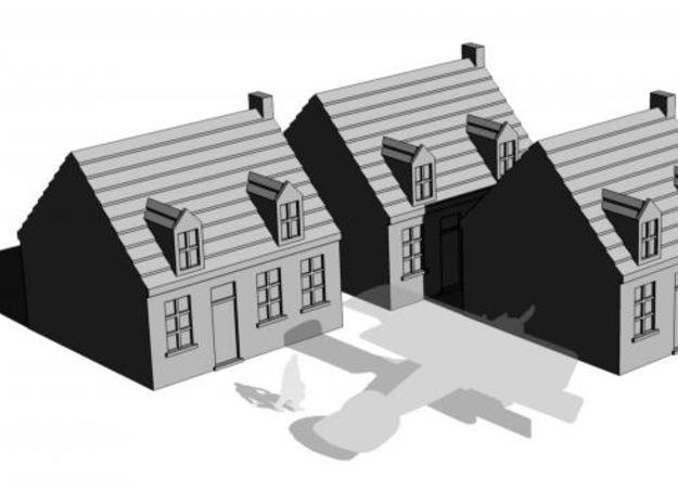1/350 Town Houses 2 in White Natural Versatile Plastic