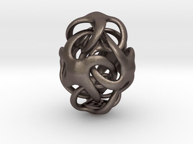 Octa Egg - 25mm in Polished Bronzed Silver Steel