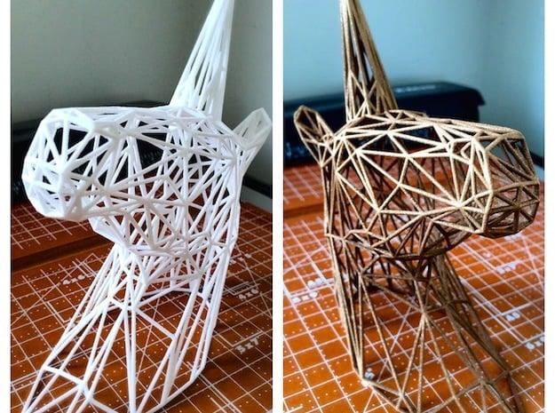 Wire Unicorn Head Statue: 6 Inch in White Natural Versatile Plastic