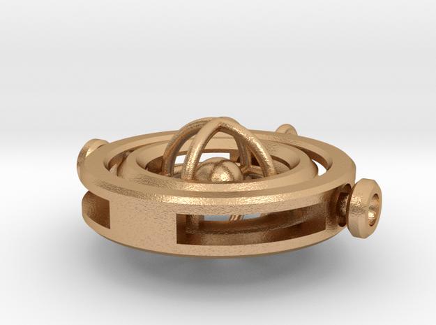 Gyroscopic Pendant in Natural Bronze (Interlocking Parts)