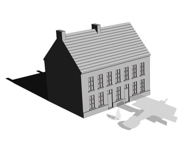1/350 Town Building 2 in White Natural Versatile Plastic