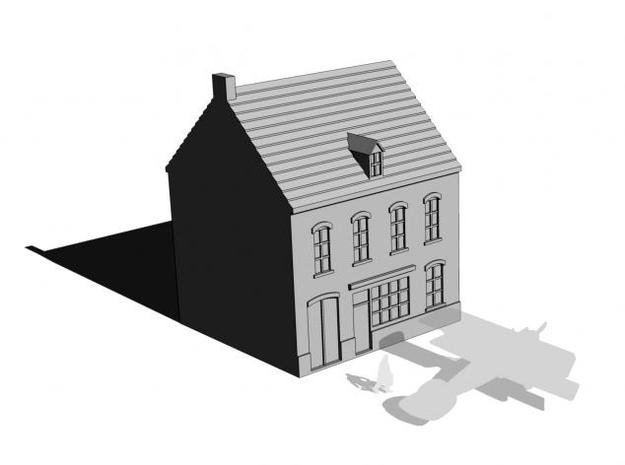 1/350 Town Building 1 in White Natural Versatile Plastic