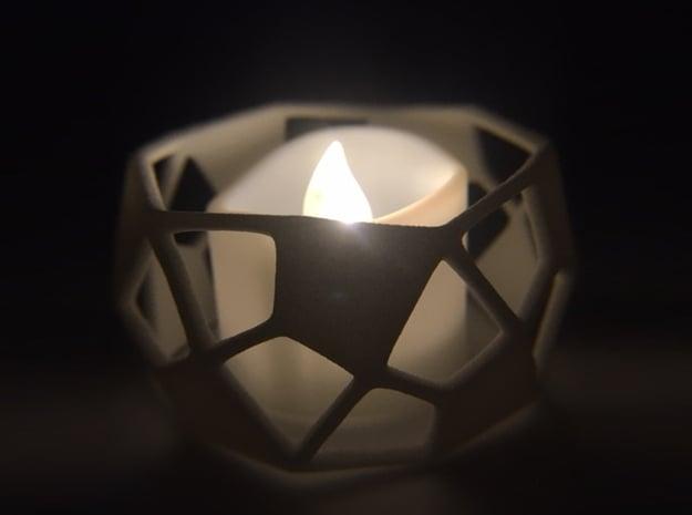 Deltoidal Hexecontahedron Tealight Ring in White Processed Versatile Plastic