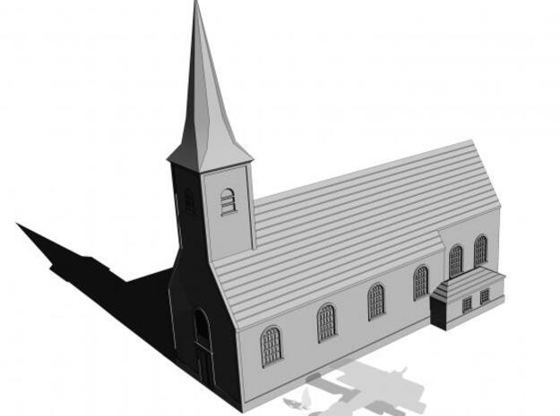 1/350 Village Church in White Natural Versatile Plastic