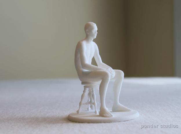 Seated Male Figure in White Natural Versatile Plastic