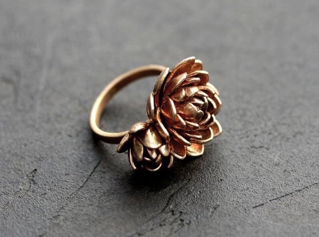 Lotus Ring  in 18k Gold Plated Brass: Medium