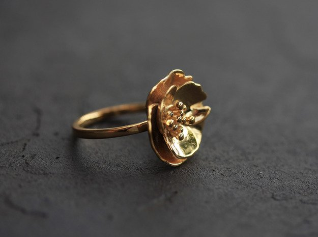 Cherry Blossom Ring in 18k Gold Plated Brass: Medium