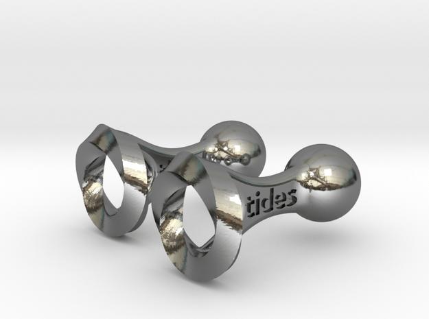 Tides Medical Cufflinks in Fine Detail Polished Silver