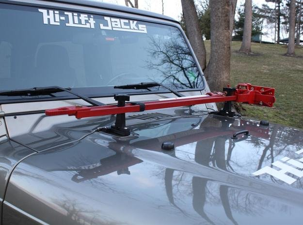 """Oyla 1/10 Scale 48"""" High Lift 3 Ton Jack with moun in Red Processed Versatile Plastic"""