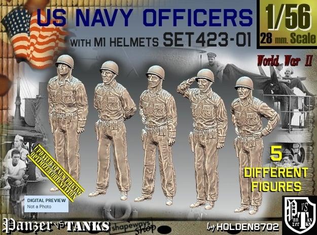 1/56 USN Officers Set423-01 in Smooth Fine Detail Plastic