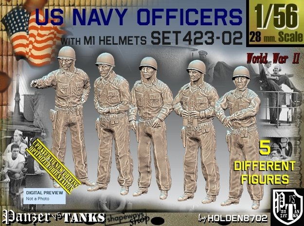 1/56 USN Officers Set423-02 in Smooth Fine Detail Plastic