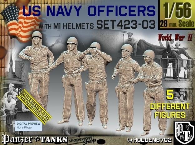 1/56 USN Officers Set423-03 in Smooth Fine Detail Plastic